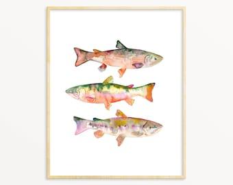 Lake House Wall Art. Gift For Dad / Fisherman. Watercolor Trout Art Print. Trout Wall Art. Trout Print. Angler Wall Art. Fisherman Gift.