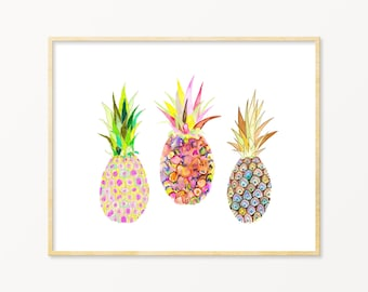 Watercolor Pineapple Illustration. Watercolor Pink Pineapples. Fruit Art Print. Entryway Art. Kitchen / Fruit Wall Art. Pink Pineapple Art.