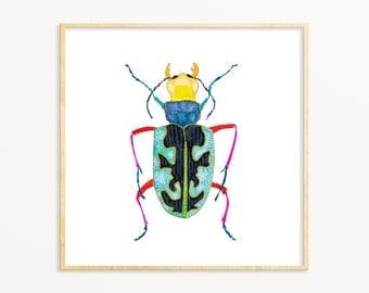 Colorful Bug Art Print. Nursery Art. Colorful Insect Art. Bright Bold Kids Room Decor. Beetle Watercolor Art Print. Boys Room Art Print.