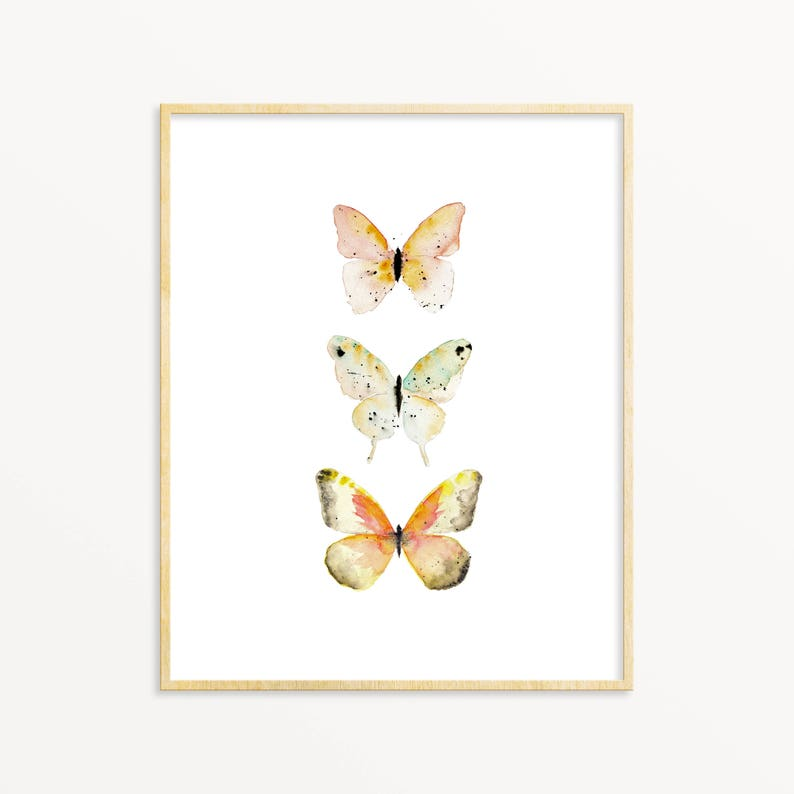 Watercolor Butterfly Art Print. Soft Orange Butterfly Poster. image 0