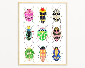 Watercolor Beetle Poster. Archival Art Print. Kids Room Art. Colorful Beetle Wall Art. Unique Insect Painting. Baby Boy Nursery Bug Art.
