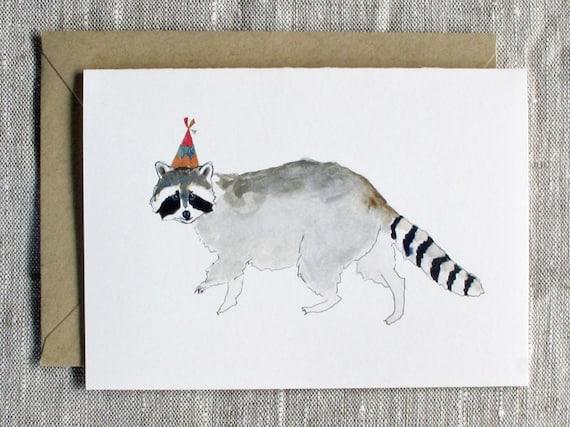 Raccoon Birthday Card Animal Birthday Card Raccoon Greeting Etsy