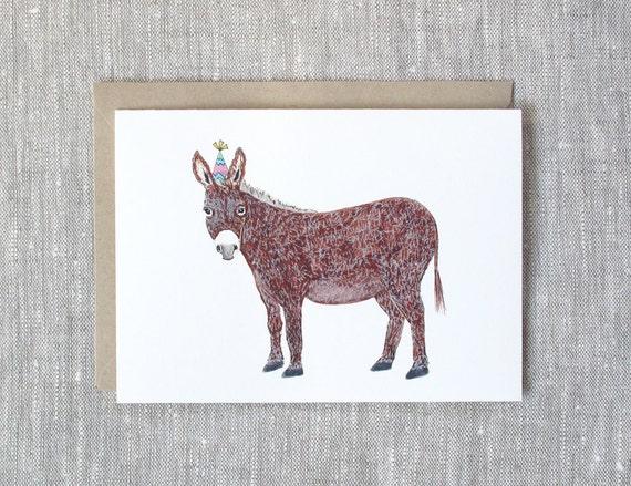 Donkey Birthday Card Donkey With A Party Hat Etsy