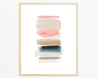 Watercolor Abstract Art Print. Earth Tones. Modern Home Decor. Minimalist Pastel Abstract. Watercolor And Ink Art. Contemporary Art Print.
