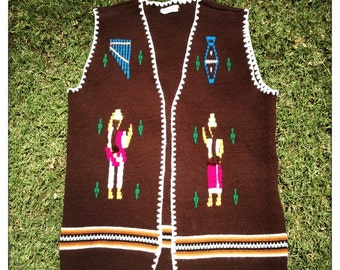 Vintage 70s Traditional Mexican WOVEN Hand Loomed EAGLE PONCHO with Fringe Hippie Boho Festival Beachie