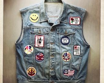Awesome Rocker OOAK Vintage 70s Patch Vest - Size X-Large Hippie Boho Peace Smile Counter Culture
