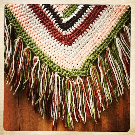 Vintage 70s Crocheted WOVEN Handmade Striped PONC… - image 2