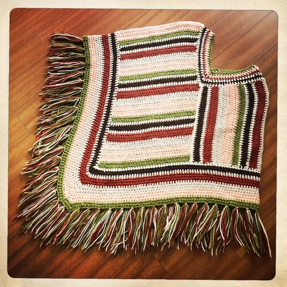 Vintage 70s Crocheted WOVEN Handmade Striped PONC… - image 5