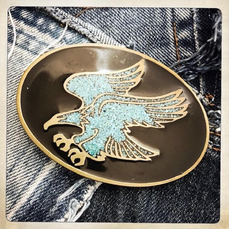 ROCKER Western Vintage Turquoise EAGLE Rocker Brass Enamel Belt Buckle Americana Rockstar Cowboy