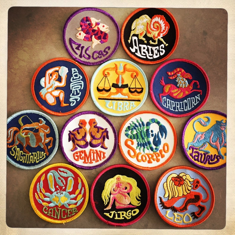 Vintage 60s 70s TRIPPY Round Embroidered ZODIAC Astrology image 0