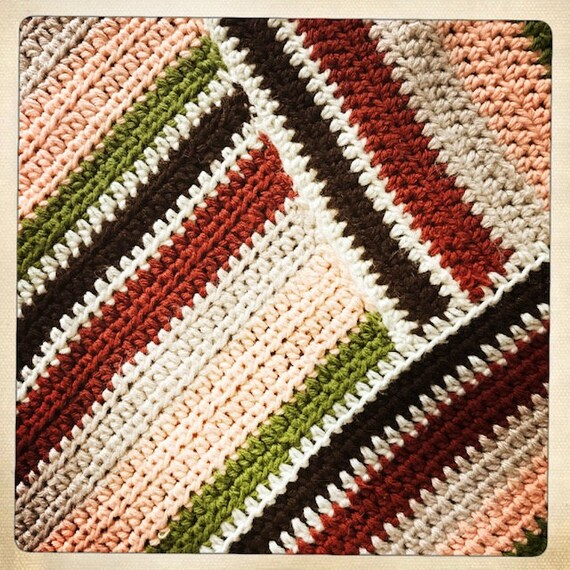Vintage 70s Crocheted WOVEN Handmade Striped PONC… - image 3
