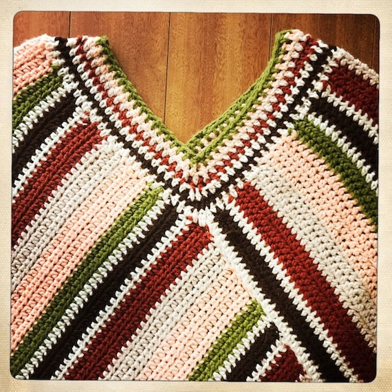 Vintage 70s Crocheted WOVEN Handmade Striped PONC… - image 4
