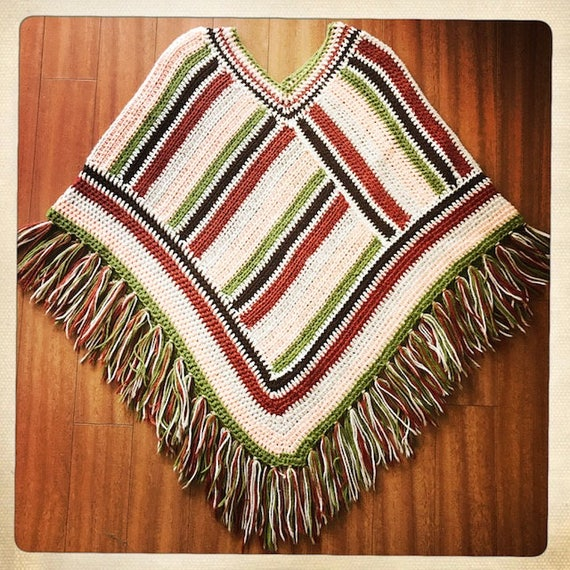 Vintage 70s Crocheted WOVEN Handmade Striped PONC… - image 1