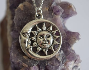 extra long sun and moon necklace   long for layering   birthday gift   gift for her   bohemian chic jewelry   gift under 25   bohemian