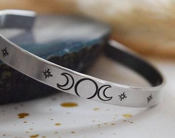 Triple moon goddess cuff | Personalized cuff bracelet | moon phases | custom cuff | hand stamped cuff bracelet | bangle bracelet