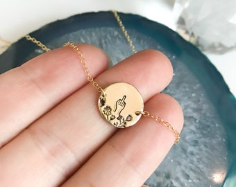 Floral middle finger disc necklace necklace | flipping the bird necklace | hand stamped | gift for her | gift under 50 | profanity