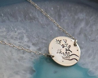 Nature is magic disc necklace necklace | flower necklace | hand stamped | gift for her | gift under 50 | gardener necklace