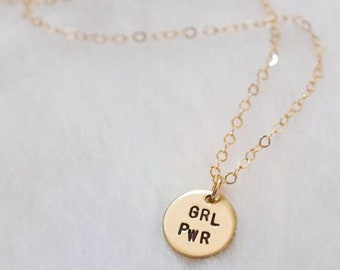 Grl pwr disc necklace necklace | feminist necklace | hand stamped | gift for her | gift under 30 | girl power