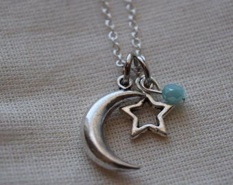 moon & star charm necklace, celestial necklace, crescent moon necklac, moon of my life, celestial jewelry, blue bead, anniversary gift