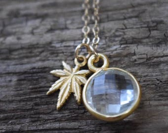 Crystal & mary jane necklace | natural stone jewelry | 420 necklace | friendship necklace | round stone | dainty gold necklace