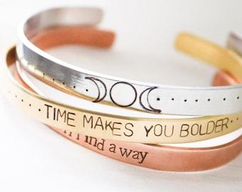 Personalized cuff bracelet | cuff bracelet | personalized jewelry | hand stamped cuff bracelet | feminist bracelet | me too | time's up