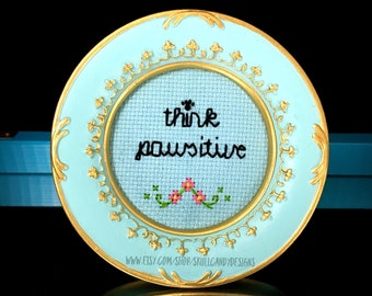 Mini Turqoise Baroque Frame Cross Stitch - Think Pawsitive (Positive)