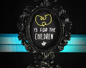 Mini Black Baroque Framed Cross Stitch - Wu-Tang Is For The Children