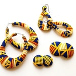 Earring Fab - Traditional Kente-Print Oversized Puffed Ovals, Wavy Teardrop Wrapped Hoops, Buttons and Studs