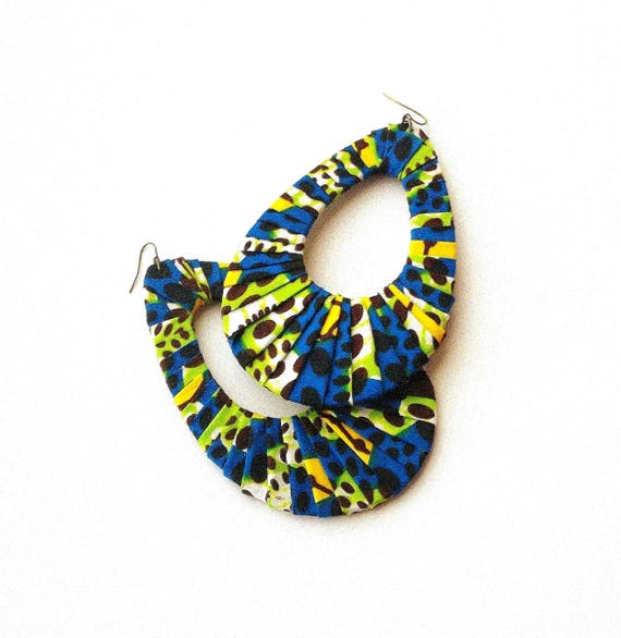 Earring Fab Buttons or Studs Traditional African Batik Wax-Print Wrapped Oval Fan-Shaped Hoops