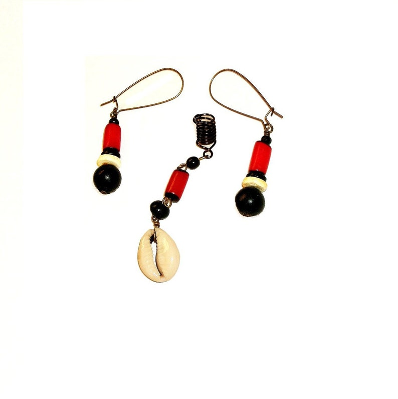 Red Black and White Caribbean Flair Loc Jewel and Earrings Set Dreadlock Jewelry