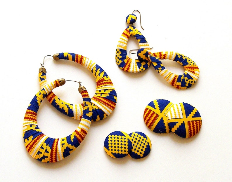 Earring Fab  Traditional Kente-Print Oversized Puffed Ovals image 0