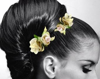Antique White Shabby Chic Bridal Flower Hair Comb. Garden Wedding Fabric Rose
