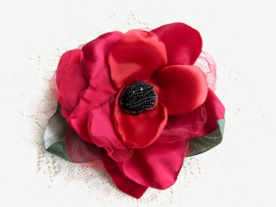 Red Pinup Hair flower.  Vintage Inspired Bridal Flower