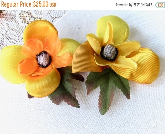 Pair of Golden Yellow Mini Hair Flowers