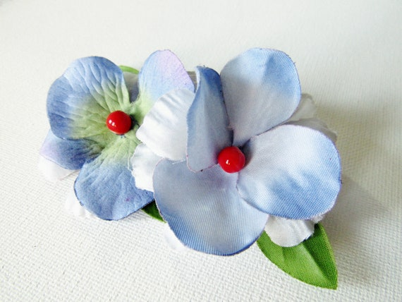 Blue Bridal Bobby Pins.  Something Blue.  Set of Two Vintage-Inspired Mini Fascinator Flowers