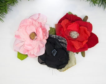 Bundle of Three Hair Clips For Women. Gift Set of Pinup Fabric Flowers. Red, Pink and Black Hairpin Set