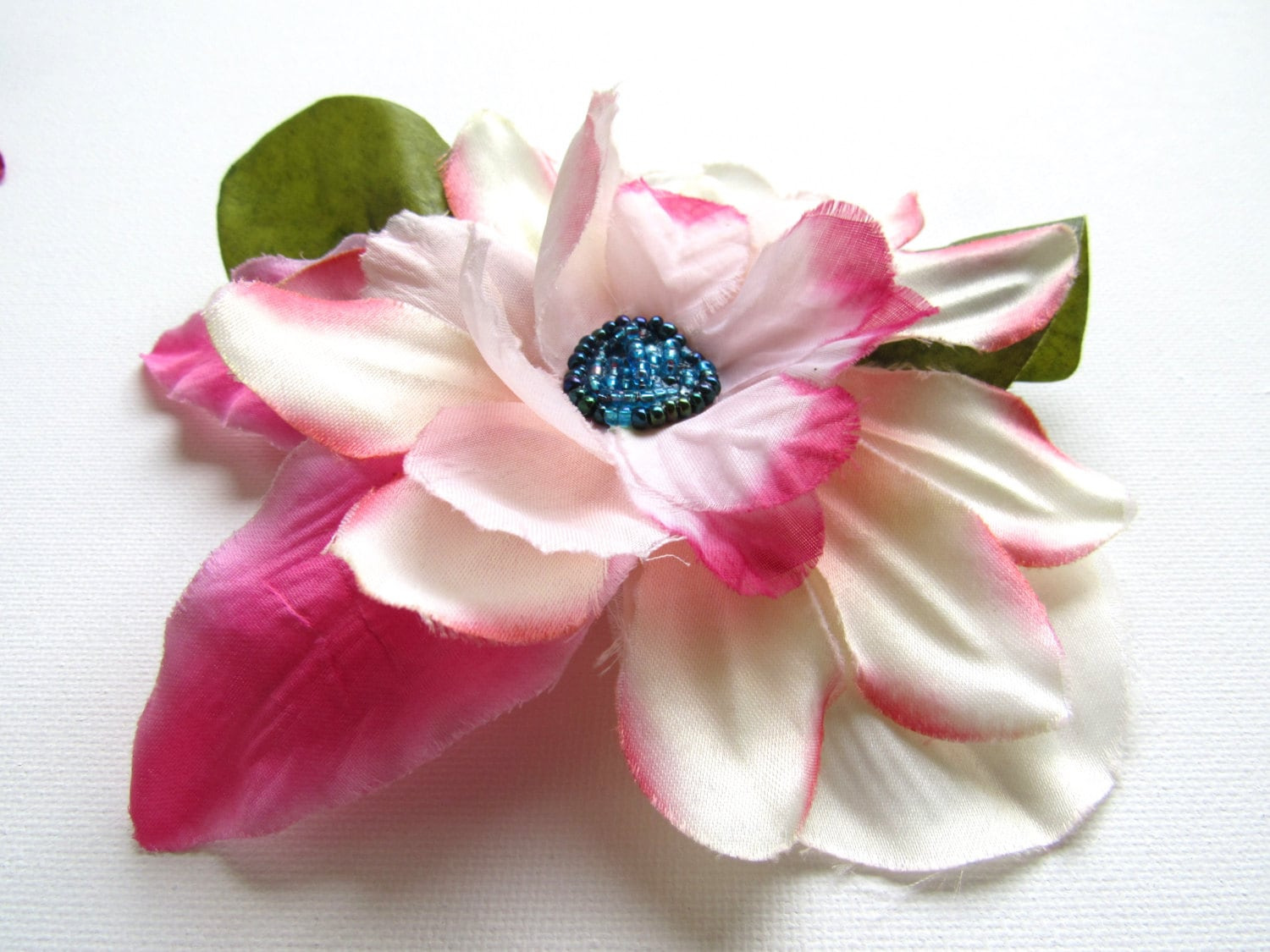 Large Pinup Hair Flower Accessory Ladies White And Pink Vintage