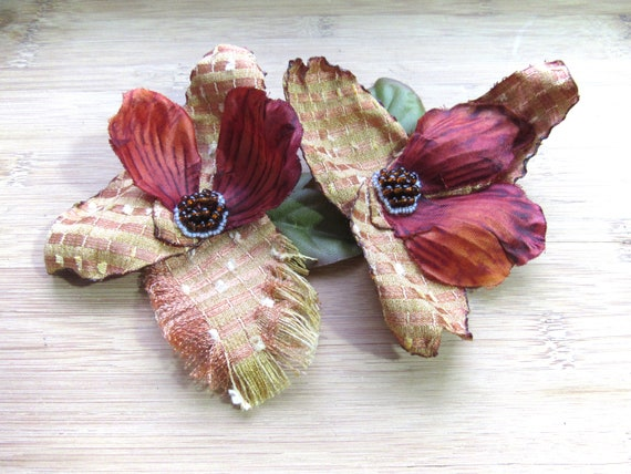 Pair of Rustic Autumn Mini Flower Hair Pins