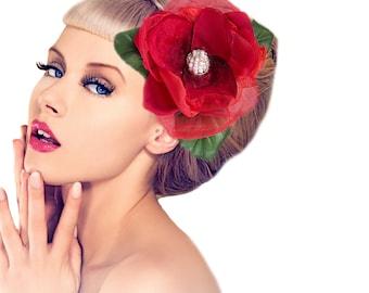 Red Pinup Hair flower.  Vintage Inspired Bridal Flower