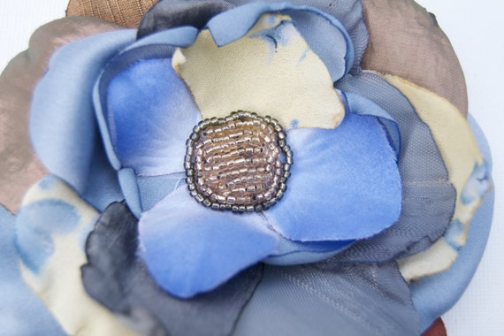 Something Blue Pinup vintage style Hair Flower Fascinator Bridal Hairclip Brooch Hat Pin Accessory