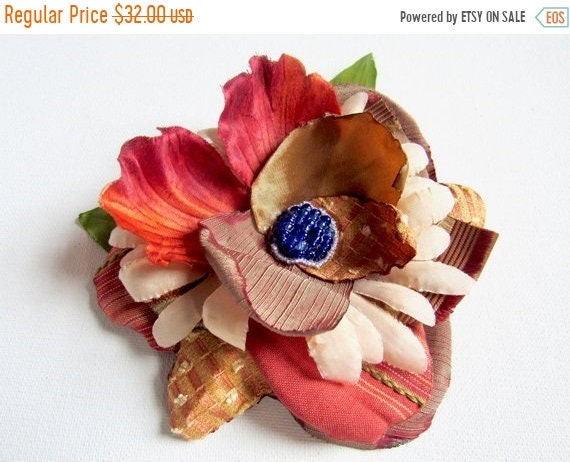 Autumn Orange Hair Flower.  Ladies fashion hair accessory
