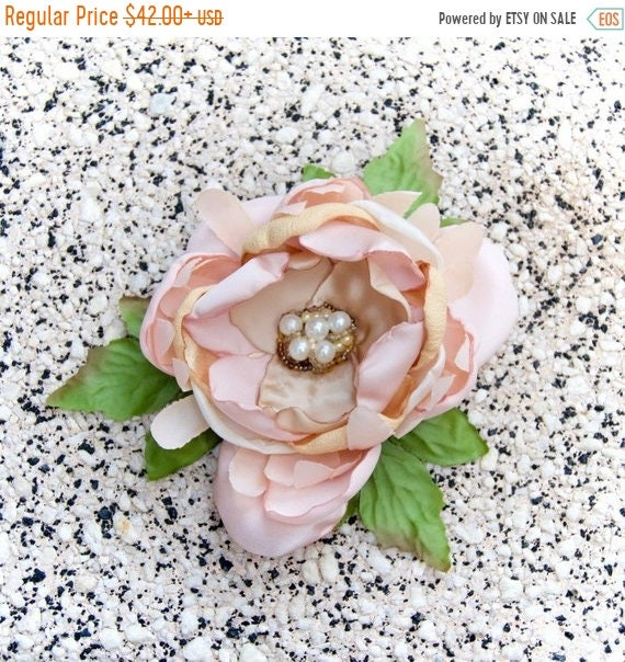 Blush Pink Shabby Chic Pearl Bridal Flower Accessory