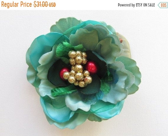 Festive Teal and Gold Pinup Holiday Fascinator