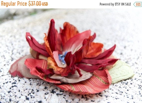 Rustic Autumn Pinup Hair Flower Accessory