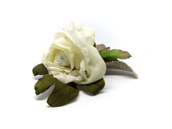 Creamy White Rose Hair Clip.  Rustic Bridal Hair Flower