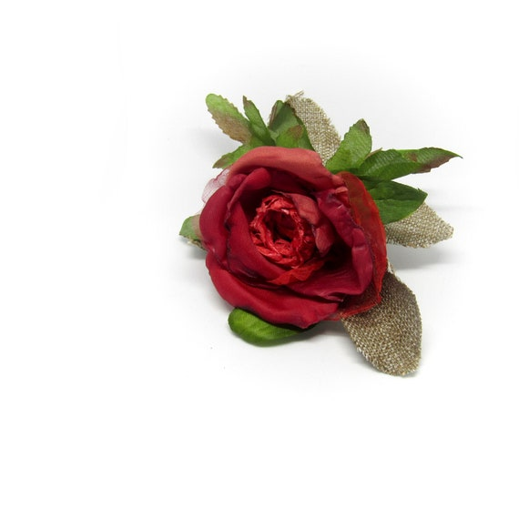 Rustic Red Rose Hair Clip.  Fabric Rose Hair Flower