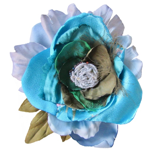 Blue Green Hombre Pinup Rockabilly Hair Flower