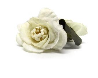 Antique White Rose Hair Clip.  Pinup, Bridal Hair Flower