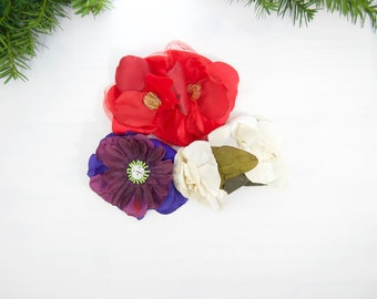Bundle of Three Hair Clips For Women. Gift Set of Pinup Fabric Flowers. Red, White and Purple Hairpin Set