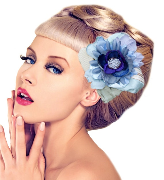 Something Blue Pinup Hair Flower.  Blue Hombre Hair Clip